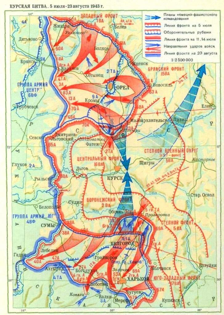 Карта Курской битвы